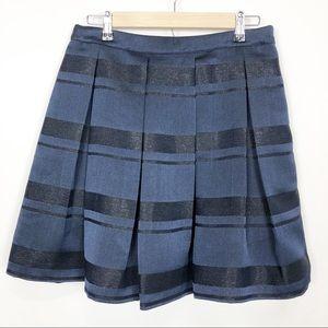 Vineyard Vines Navy Pleated Shimmer Stripe Skirt 6